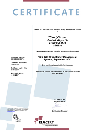 Candy Subotica has ISO 22000:2005 certificate